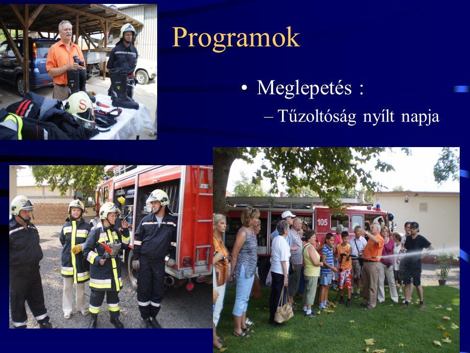 Programok •Meglepetés : –Tűzoltóság nyílt napja
