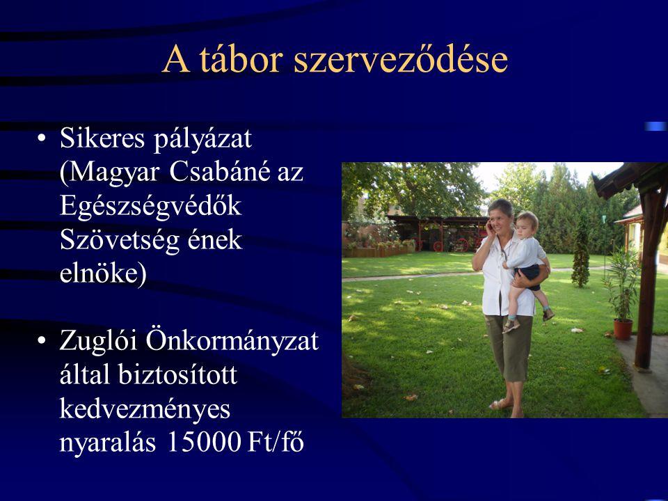 A tábor szerveződése •Sikeres pályázat (Magyar Csabáné az Egészségvédők Szövetség ének elnöke) •Zuglói Önkormányzat által biztosított kedvezményes nyaralás 15000 Ft/fő