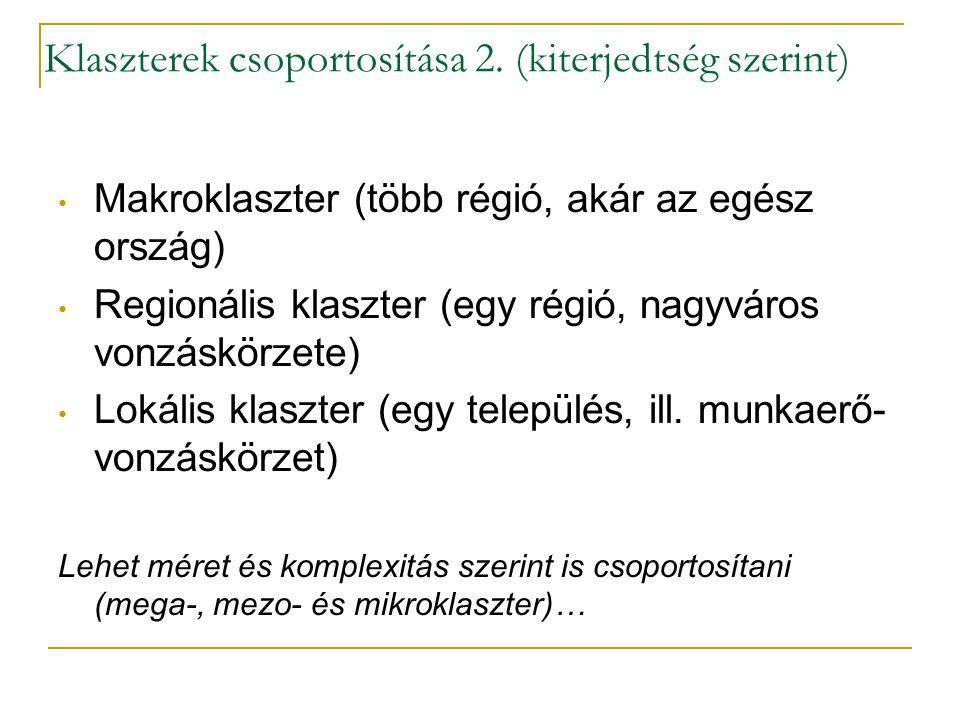 Klaszterek csoportosítása 2. (kiterjedtség szerint) • Makroklaszter (több régió, akár az egész ország) • Regionális klaszter (egy régió, nagyváros von