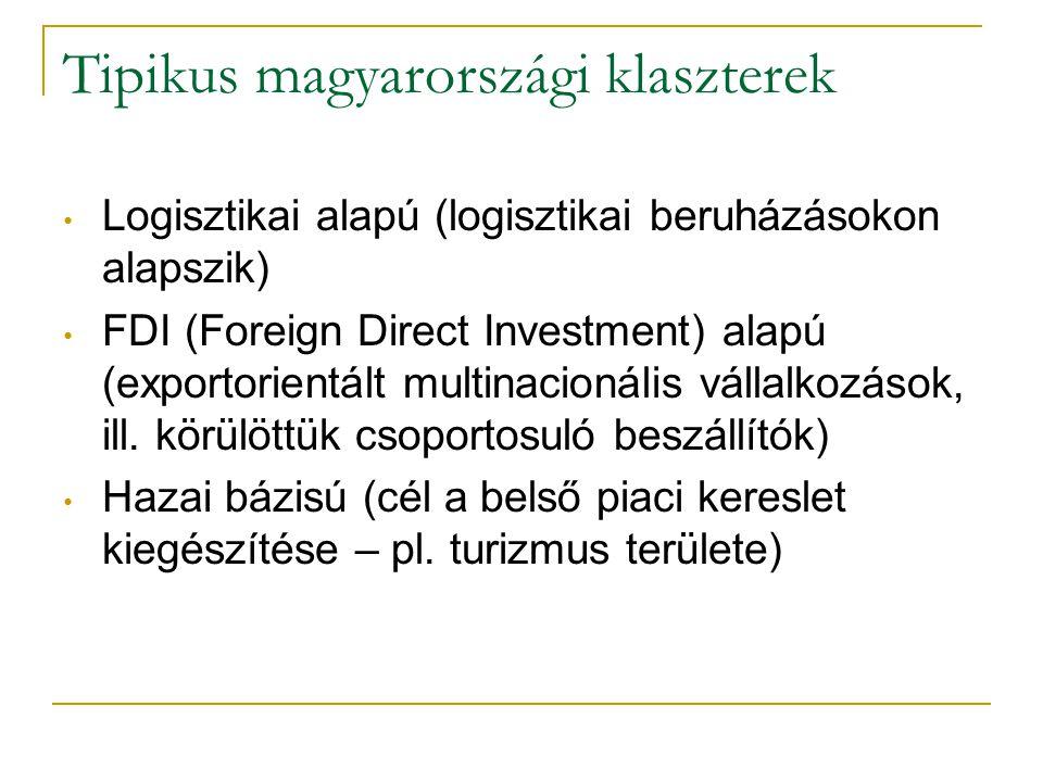 Tipikus magyarországi klaszterek • Logisztikai alapú (logisztikai beruházásokon alapszik) • FDI (Foreign Direct Investment) alapú (exportorientált mul