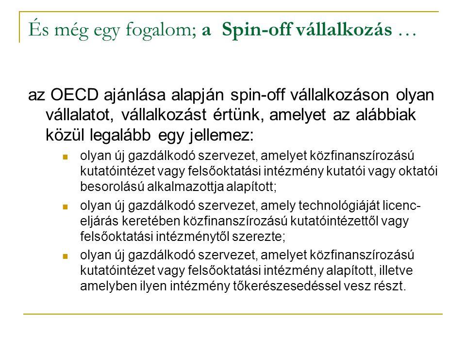 És még egy fogalom; a Spin-off vállalkozás … az OECD ajánlása alapján spin-off vállalkozáson olyan vállalatot, vállalkozást értünk, amelyet az alábbia
