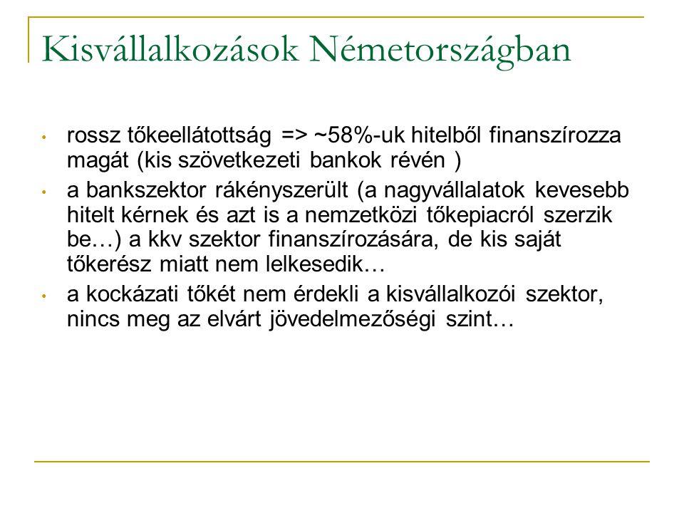 Kisvállalkozások Németországban • rossz tőkeellátottság => ~58%-uk hitelből finanszírozza magát (kis szövetkezeti bankok révén ) • a bankszektor rákén