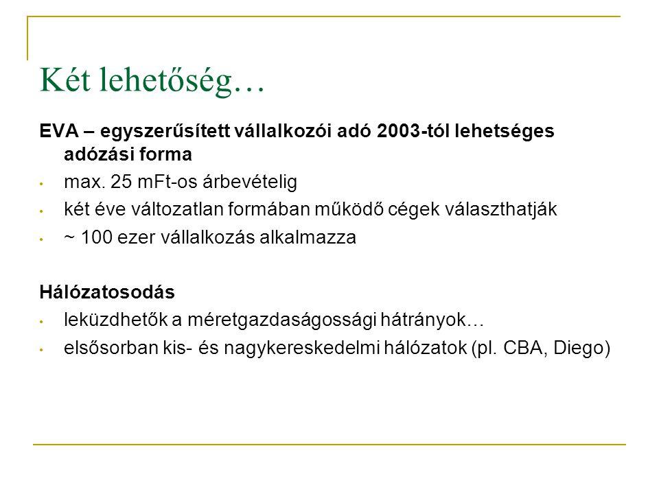 Két lehetőség… EVA – egyszerűsített vállalkozói adó 2003-tól lehetséges adózási forma • max. 25 mFt-os árbevételig • két éve változatlan formában műkö