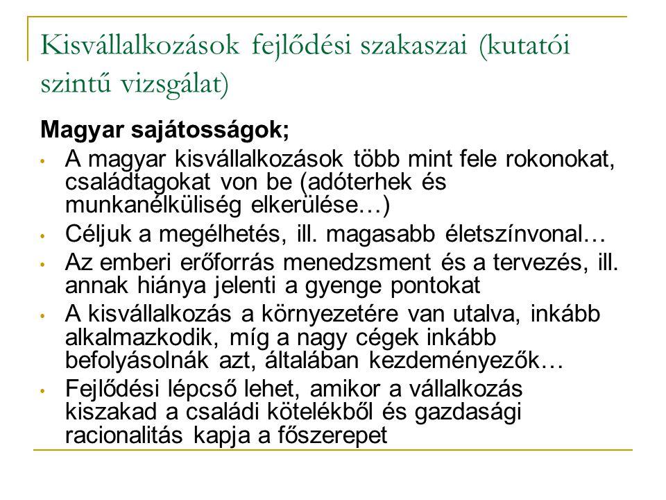 Kisvállalkozások fejlődési szakaszai (kutatói szintű vizsgálat) Magyar sajátosságok; • A magyar kisvállalkozások több mint fele rokonokat, családtagok