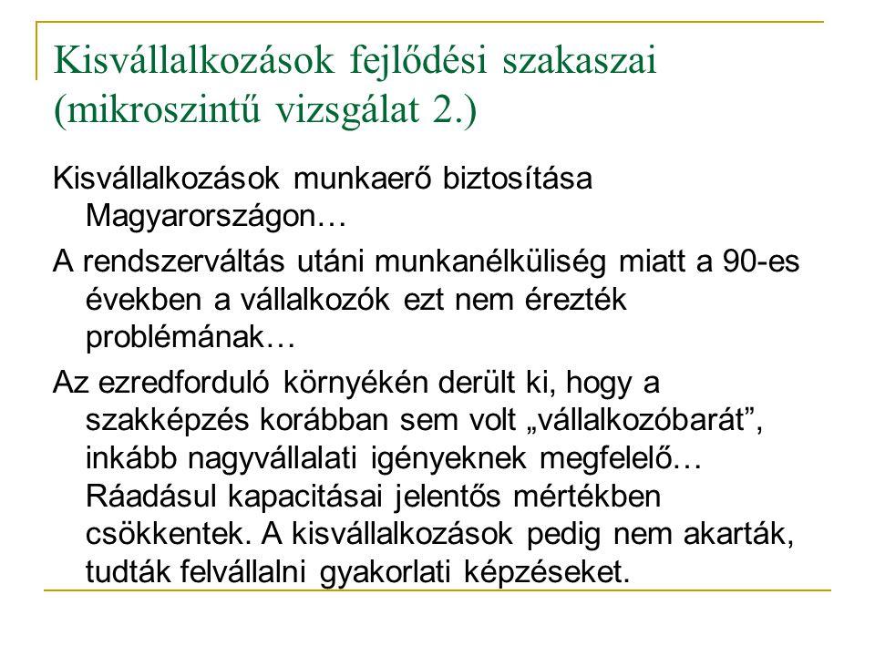 Kisvállalkozások fejlődési szakaszai (mikroszintű vizsgálat 2.) Kisvállalkozások munkaerő biztosítása Magyarországon… A rendszerváltás utáni munkanélk