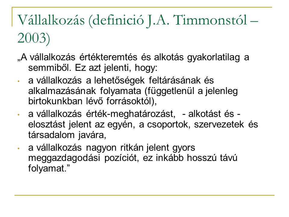 """Vállalkozás (definició J.A. Timmonstól – 2003) """"A vállalkozás értékteremtés és alkotás gyakorlatilag a semmiből. Ez azt jelenti, hogy: • a vállalkozás"""