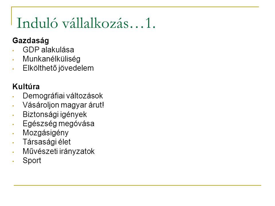 Induló vállalkozás…1. Gazdaság • GDP alakulása • Munkanélküliség • Elkölthető jövedelem Kultúra • Demográfiai változások • Vásároljon magyar árut! • B