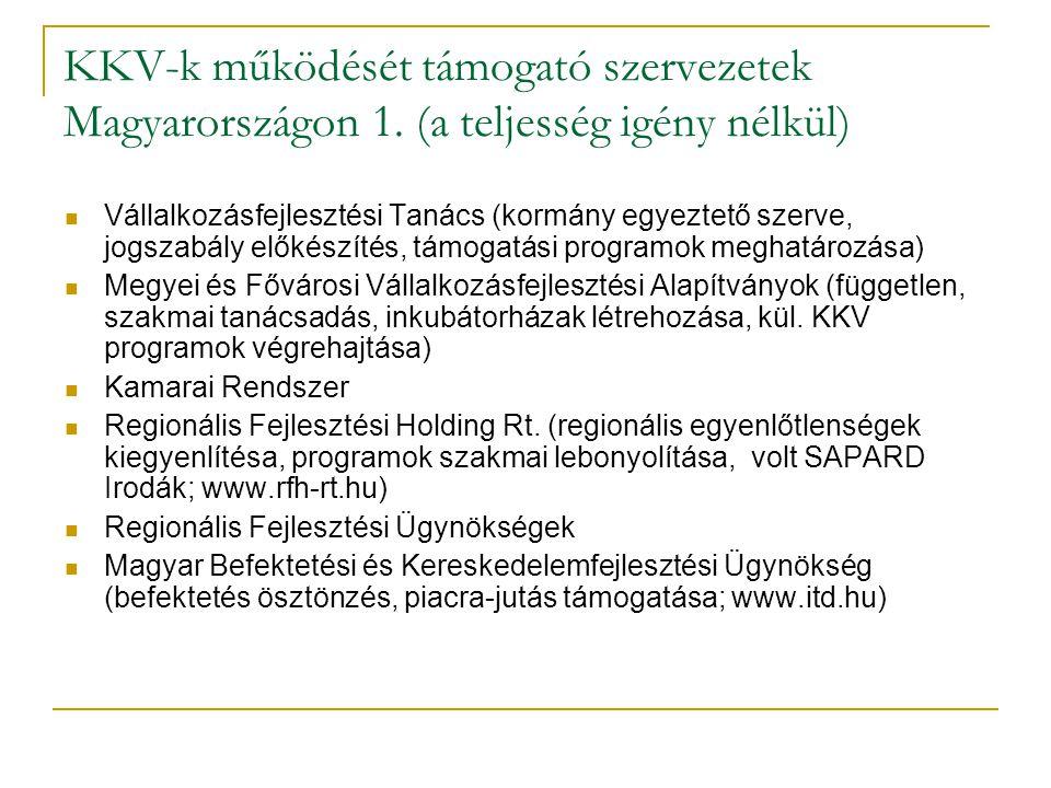 KKV-k működését támogató szervezetek Magyarországon 1. (a teljesség igény nélkül)  Vállalkozásfejlesztési Tanács (kormány egyeztető szerve, jogszabál