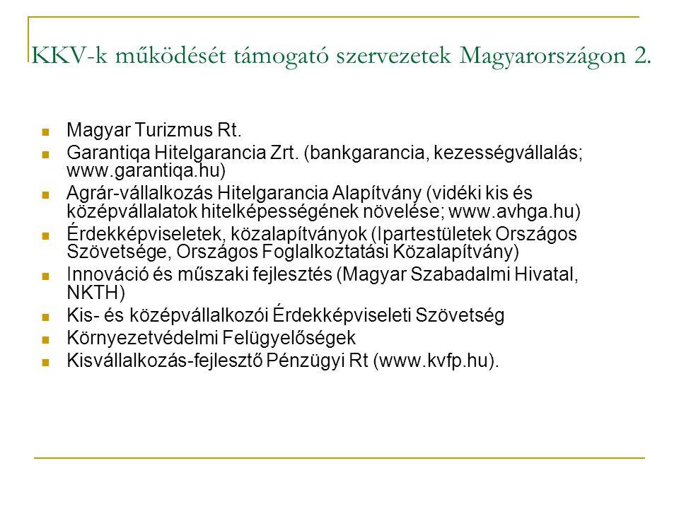 KKV-k működését támogató szervezetek Magyarországon 2.  Magyar Turizmus Rt.  Garantiqa Hitelgarancia Zrt. (bankgarancia, kezességvállalás; www.garan