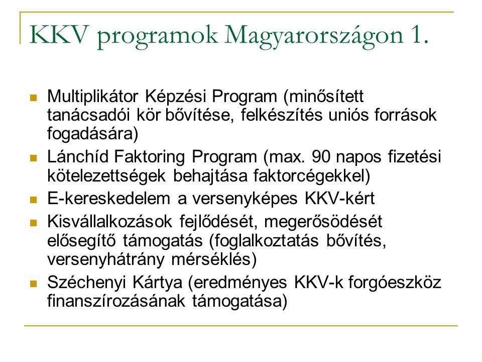 KKV programok Magyarországon 1.  Multiplikátor Képzési Program (minősített tanácsadói kör bővítése, felkészítés uniós források fogadására)  Lánchíd