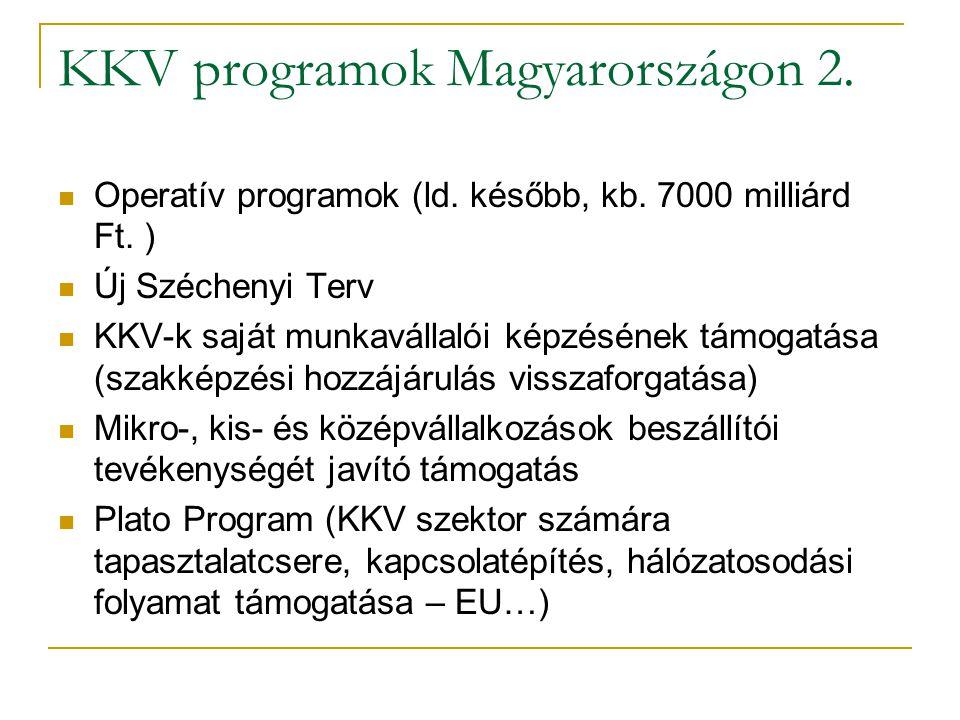 KKV programok Magyarországon 2.  Operatív programok (ld. később, kb. 7000 milliárd Ft. )  Új Széchenyi Terv  KKV-k saját munkavállalói képzésének t