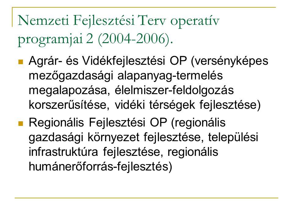 Nemzeti Fejlesztési Terv operatív programjai 2 (2004-2006).  Agrár- és Vidékfejlesztési OP (versényképes mezőgazdasági alapanyag-termelés megalapozás