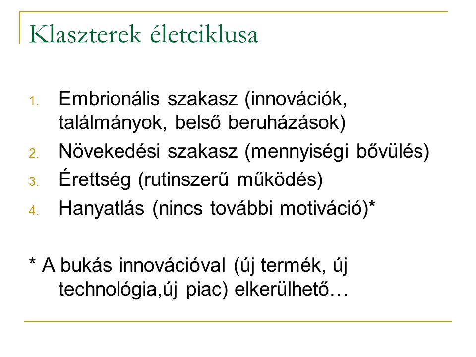 Klaszterek életciklusa 1. Embrionális szakasz (innovációk, találmányok, belső beruházások) 2. Növekedési szakasz (mennyiségi bővülés) 3. Érettség (rut