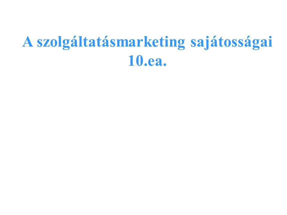 A szolgáltatásmarketing sajátosságai 10.ea.