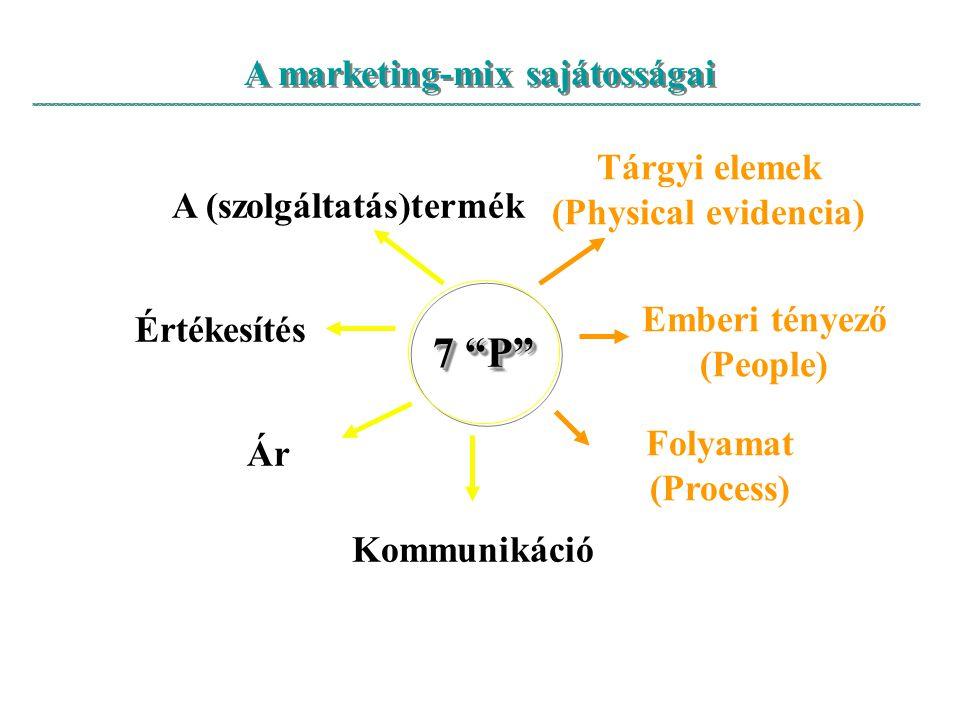 """A marketing-mix sajátosságai 7 """"P"""" A (szolgáltatás)termék Ár Értékesítés Folyamat (Process) Emberi tényező (People) Tárgyi elemek (Physical evidencia)"""