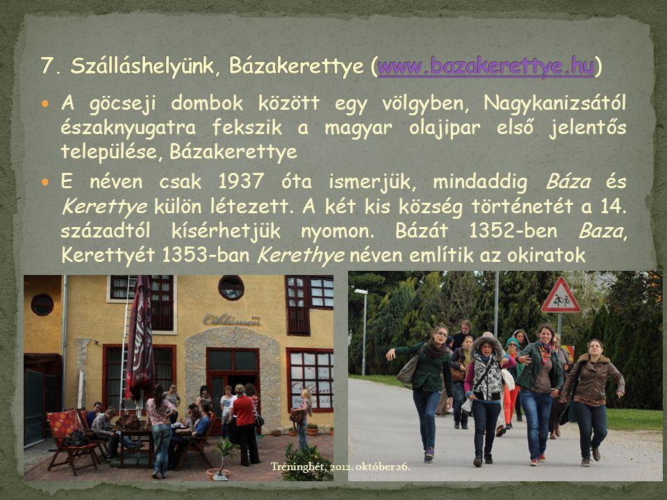  A göcseji dombok között egy völgyben, Nagykanizsától északnyugatra fekszik a magyar olajipar első jelentős települése, Bázakerettye  E néven csak 1