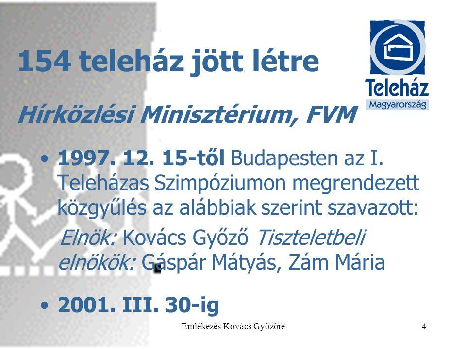 2013.05.29.Emlékezés Kovács Győzőre4 154 teleház jött létre •1997. 12. 15-től Budapesten az I. Teleházas Szimpóziumon megrendezett közgyűlés az alábbi