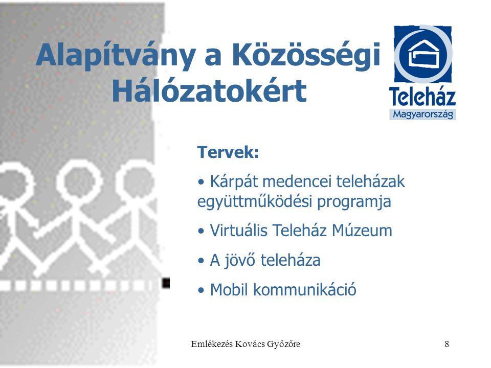 2013.05.29.Emlékezés Kovács Győzőre8 Alapítvány a Közösségi Hálózatokért Tervek: • Kárpát medencei teleházak együttműködési programja • Virtuális Teleház Múzeum • A jövő teleháza • Mobil kommunikáció