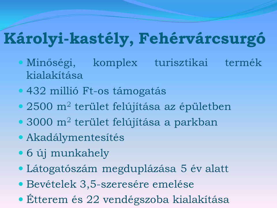 Károlyi-kastély, Fehérvárcsurgó  Minőségi, komplex turisztikai termék kialakítása  432 millió Ft-os támogatás  2500 m 2 terület felújítása az épüle
