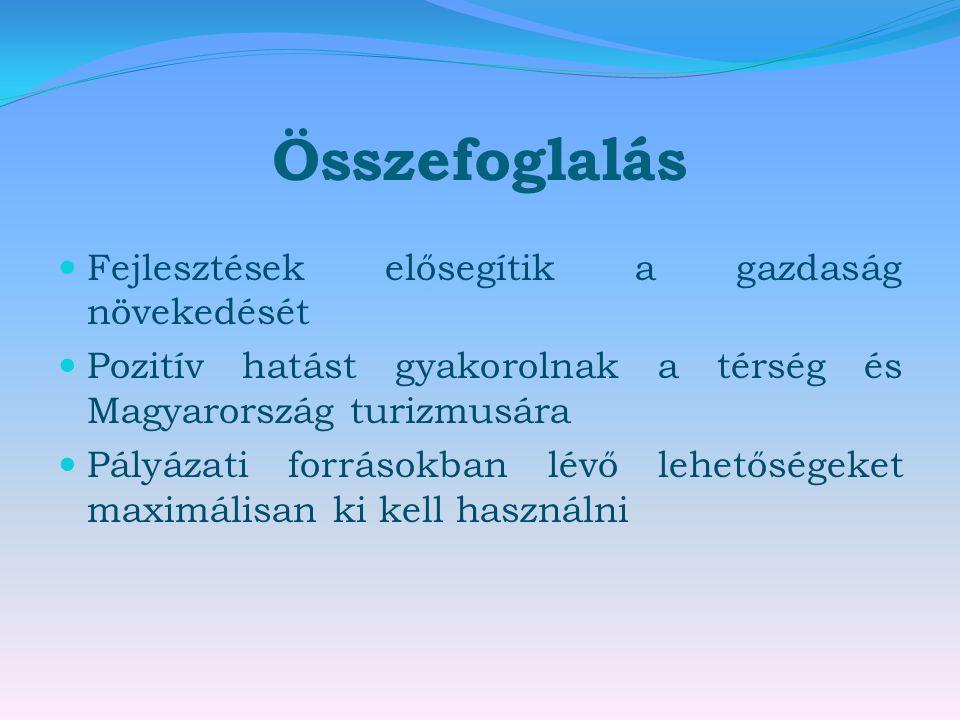 Összefoglalás  Fejlesztések elősegítik a gazdaság növekedését  Pozitív hatást gyakorolnak a térség és Magyarország turizmusára  Pályázati forrásokb
