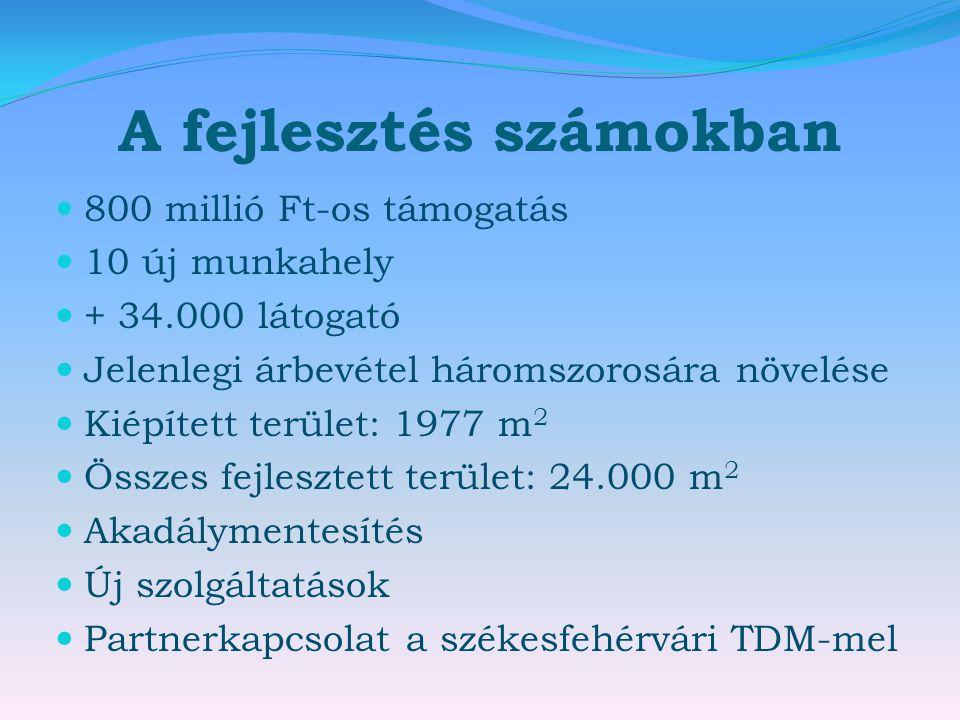 A fejlesztés számokban  800 millió Ft-os támogatás  10 új munkahely  + 34.000 látogató  Jelenlegi árbevétel háromszorosára növelése  Kiépített terület: 1977 m 2  Összes fejlesztett terület: 24.000 m 2  Akadálymentesítés  Új szolgáltatások  Partnerkapcsolat a székesfehérvári TDM-mel