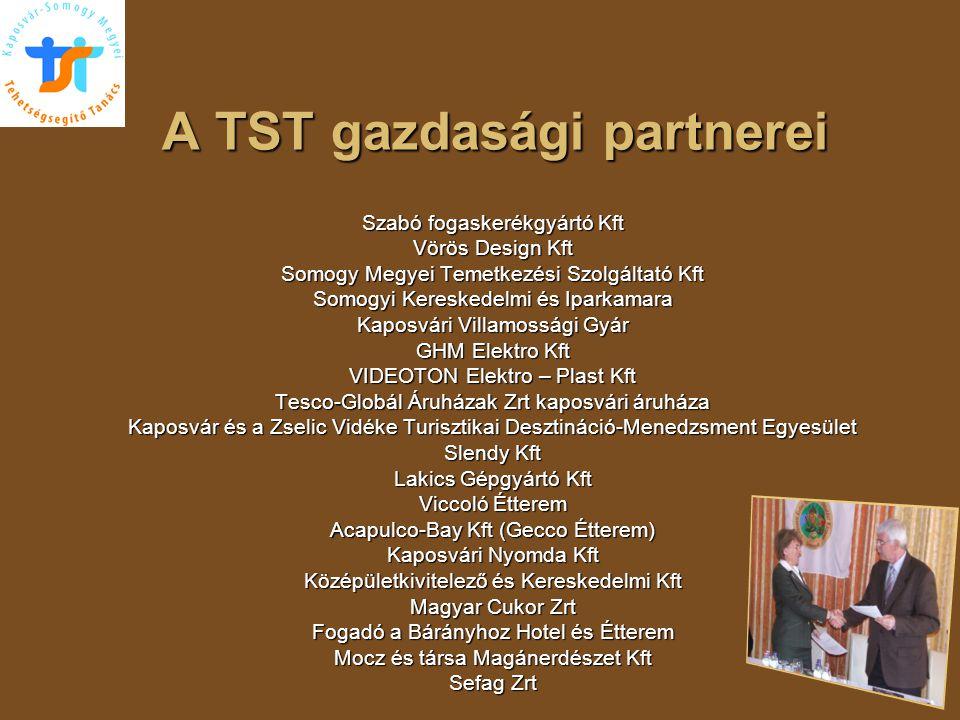 A TST gazdasági partnerei Szabó fogaskerékgyártó Kft Vörös Design Kft Somogy Megyei Temetkezési Szolgáltató Kft Somogyi Kereskedelmi és Iparkamara Kap