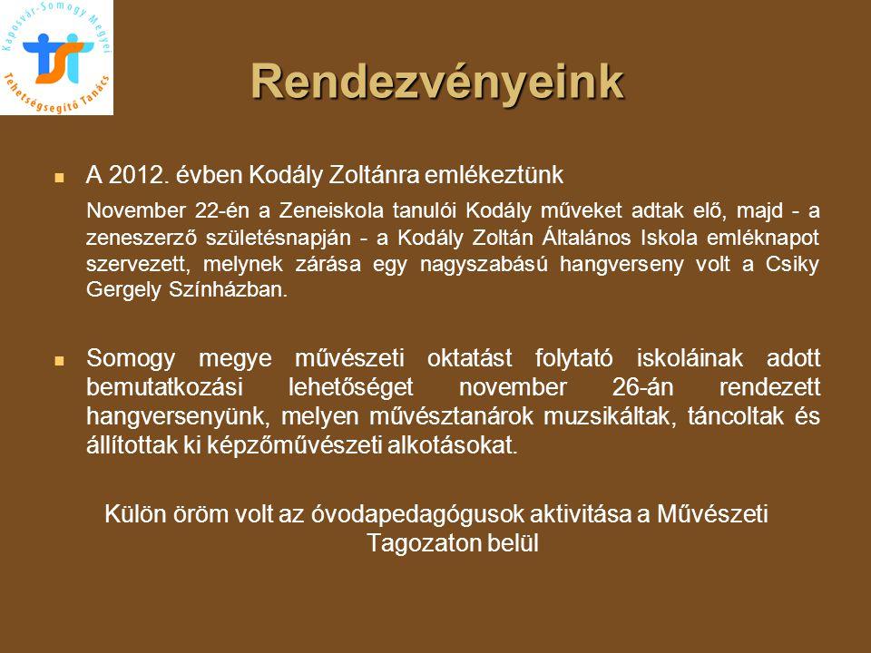 Rendezvényeink   A 2012. évben Kodály Zoltánra emlékeztünk November 22-én a Zeneiskola tanulói Kodály műveket adtak elő, majd - a zeneszerző születé