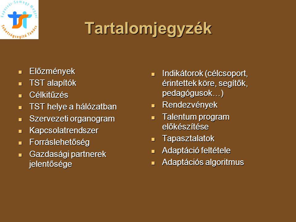Tartalomjegyzék  Előzmények  TST alapítók  Célkitűzés  TST helye a hálózatban  Szervezeti organogram  Kapcsolatrendszer  Forráslehetőség  Gazd
