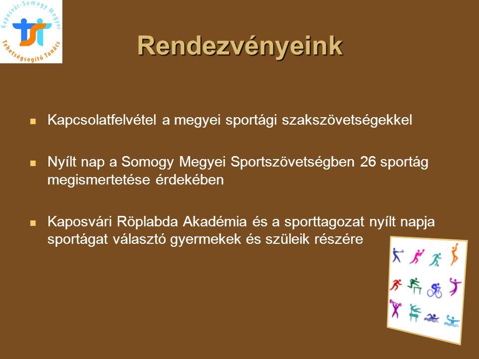 Rendezvényeink   Kapcsolatfelvétel a megyei sportági szakszövetségekkel   Nyílt nap a Somogy Megyei Sportszövetségben 26 sportág megismertetése ér