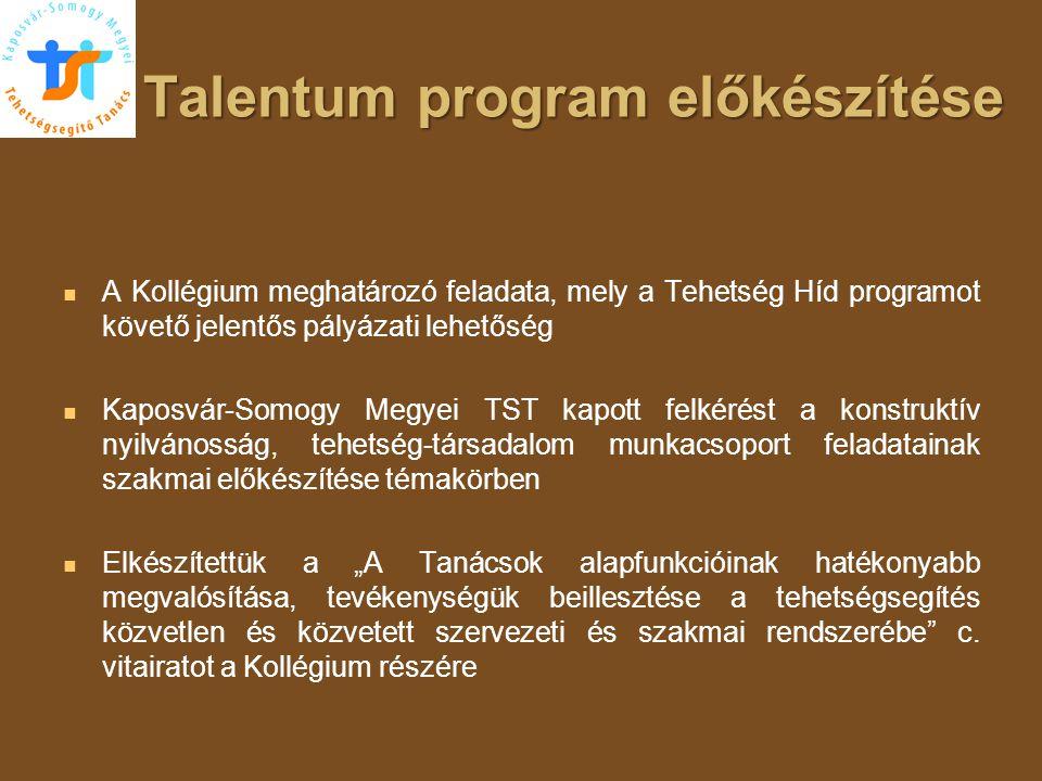 Talentum program előkészítése   A Kollégium meghatározó feladata, mely a Tehetség Híd programot követő jelentős pályázati lehetőség   Kaposvár-Som