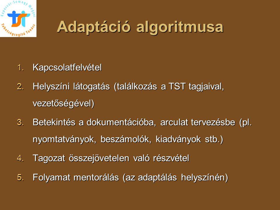 Adaptáció algoritmusa 1. Kapcsolatfelvétel 2. Helyszíni látogatás (találkozás a TST tagjaival, vezetőségével) 3. Betekintés a dokumentációba, arculat