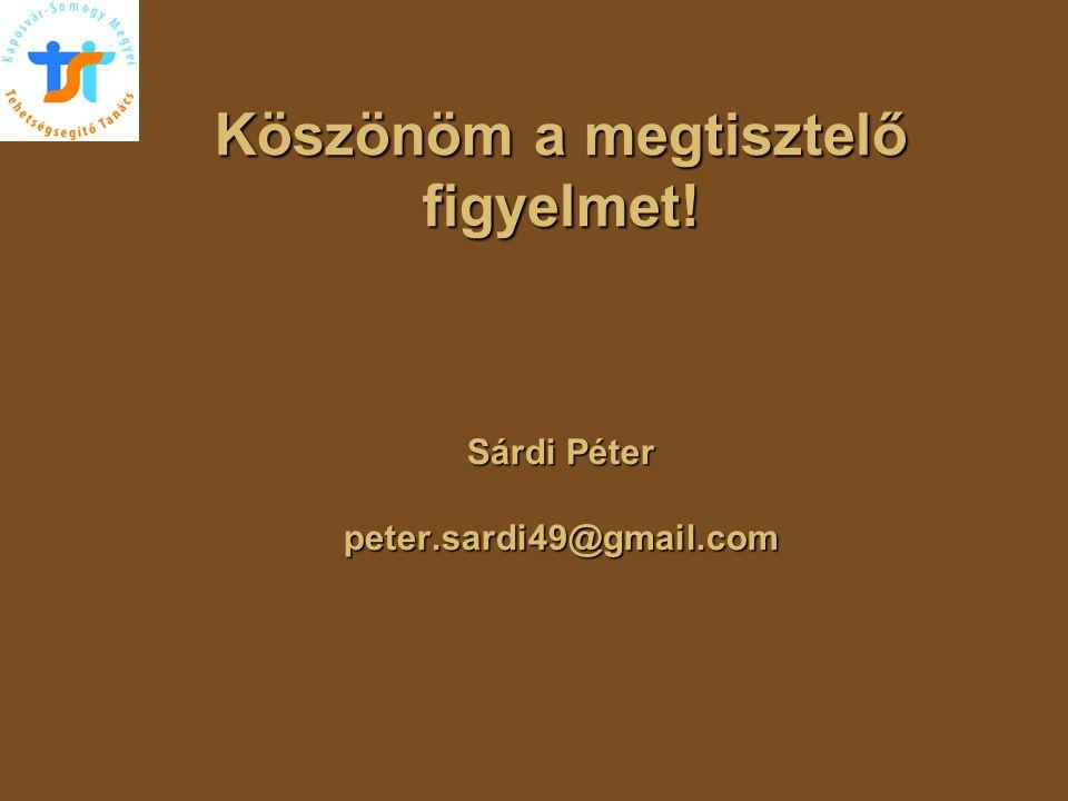 Köszönöm a megtisztelő figyelmet! Sárdi Péter peter.sardi49@gmail.com Köszönöm a megtisztelő figyelmet! Sárdi Péter peter.sardi49@gmail.com