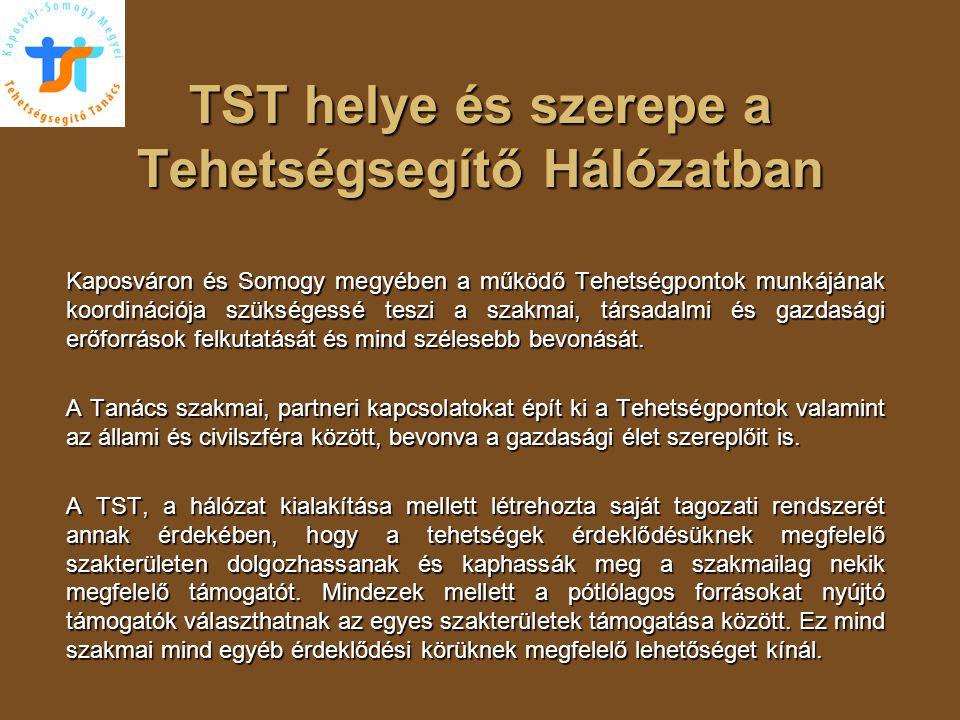 TST helye és szerepe a Tehetségsegítő Hálózatban Kaposváron és Somogy megyében a működő Tehetségpontok munkájának koordinációja szükségessé teszi a sz
