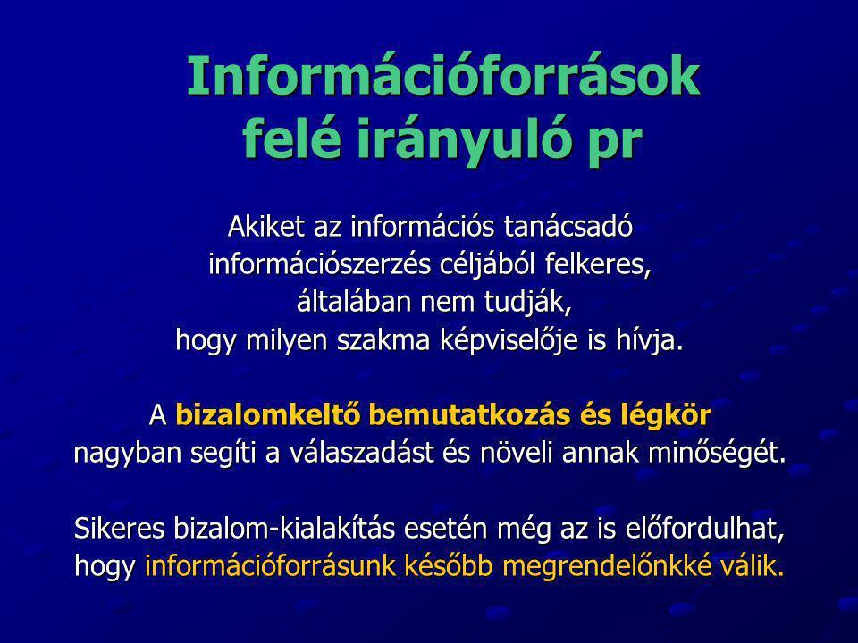 Információforrások felé irányuló pr Akiket az információs tanácsadó információszerzés céljából felkeres, általában nem tudják, általában nem tudják, h