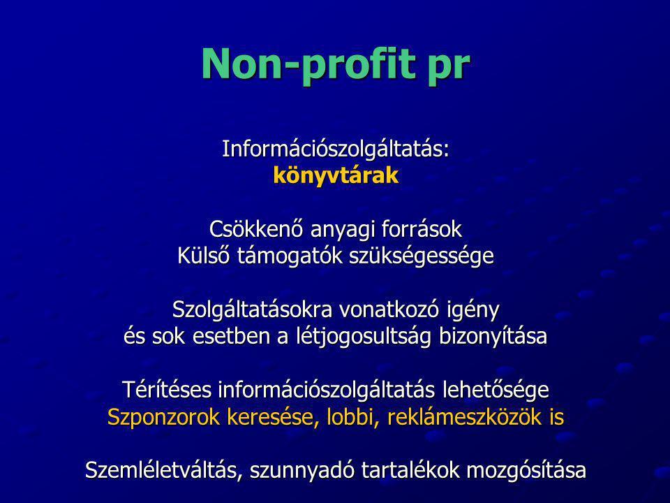 Non-profit pr Információszolgáltatás:könyvtárak Csökkenő anyagi források Külső támogatók szükségessége Szolgáltatásokra vonatkozó igény és sok esetben