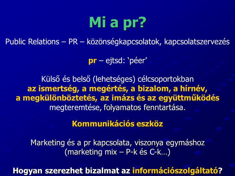 Mi a pr? Public Relations – PR – közönségkapcsolatok, kapcsolatszervezés pr – ejtsd: 'péer' Külső és belső (lehetséges) célcsoportokban az ismertség,