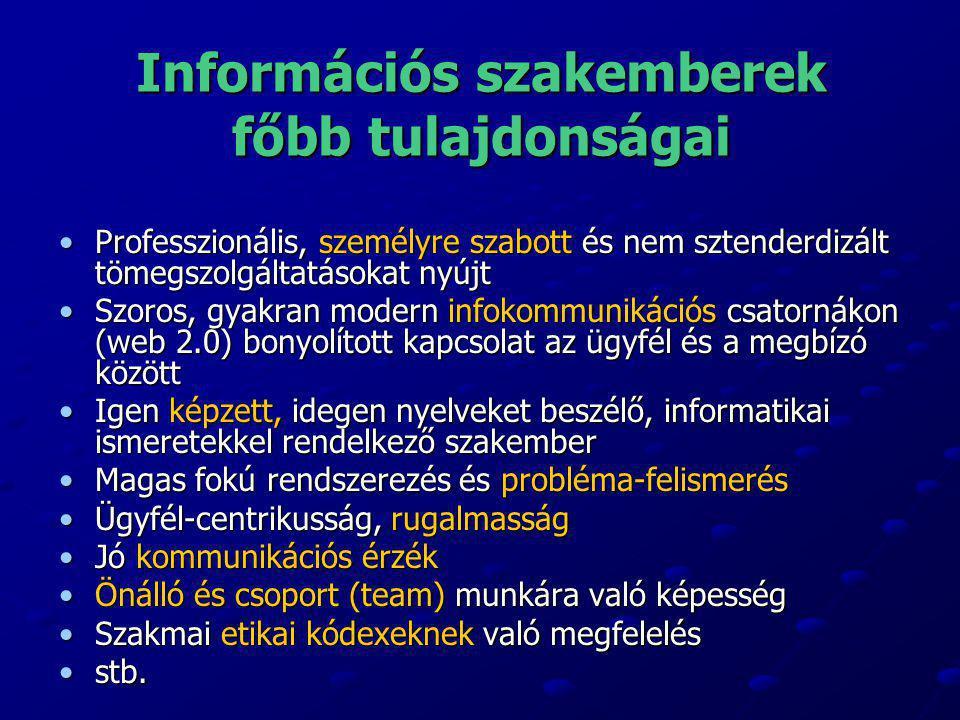 Információs szakemberek főbb tulajdonságai •Professzionális, személyre szabott és nem sztenderdizált tömegszolgáltatásokat nyújt •Szoros, gyakran mode