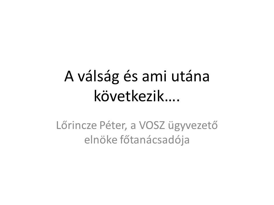 A válság és ami utána következik…. Lőrincze Péter, a VOSZ ügyvezető elnöke főtanácsadója
