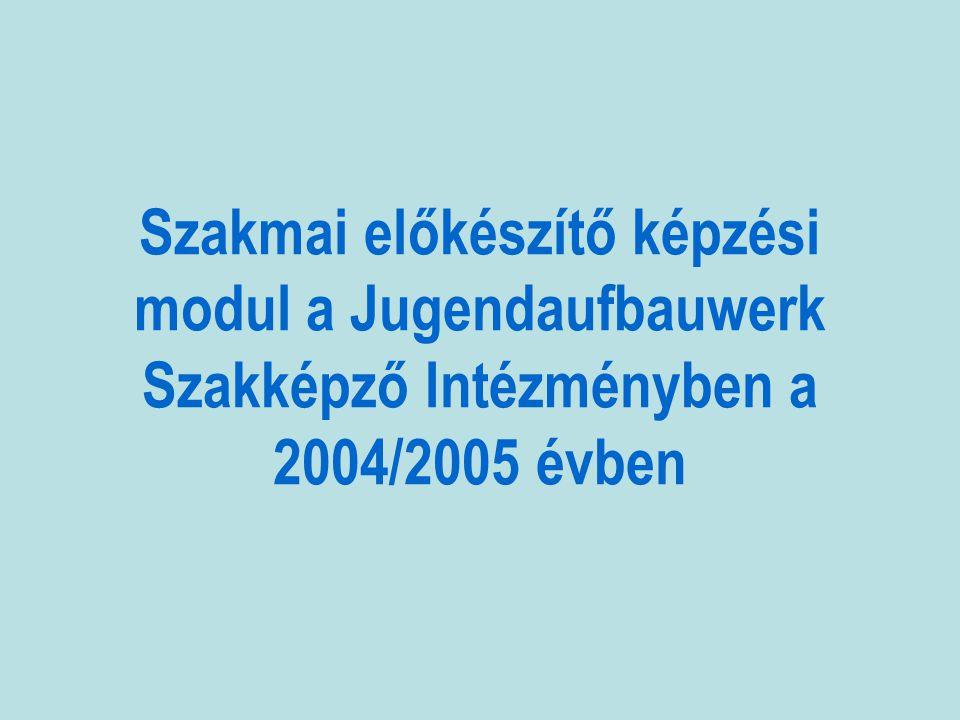 Szakmai előkészítő képzési modul a Jugendaufbauwerk Szakképző Intézményben a 2004/2005 évben