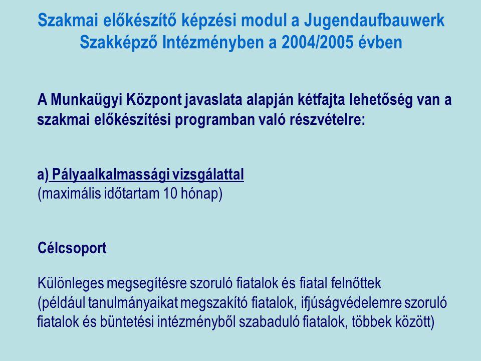 Szakmai előkészítő képzési modul a Jugendaufbauwerk Szakképző Intézményben a 2004/2005 évben A Munkaügyi Központ javaslata alapján kétfajta lehetőség van a szakmai előkészítési programban való részvételre: a) Pályaalkalmassági vizsgálattal (maximális időtartam 10 hónap) Célcsoport Különleges megsegítésre szoruló fiatalok és fiatal felnőttek (például tanulmányaikat megszakító fiatalok, ifjúságvédelemre szoruló fiatalok és büntetési intézményből szabaduló fiatalok, többek között)