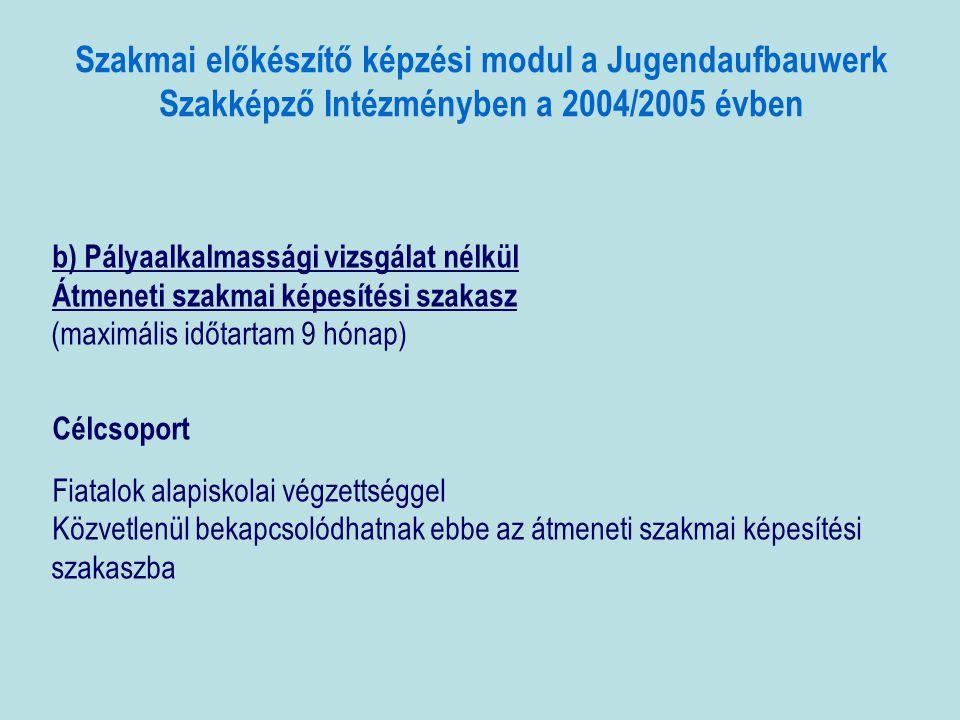 Szakmai előkészítő képzési modul a Jugendaufbauwerk Szakképző Intézményben a 2004/2005 évben b) Pályaalkalmassági vizsgálat nélkül Átmeneti szakmai képesítési szakasz (maximális időtartam 9 hónap) Célcsoport Fiatalok alapiskolai végzettséggel Közvetlenül bekapcsolódhatnak ebbe az átmeneti szakmai képesítési szakaszba