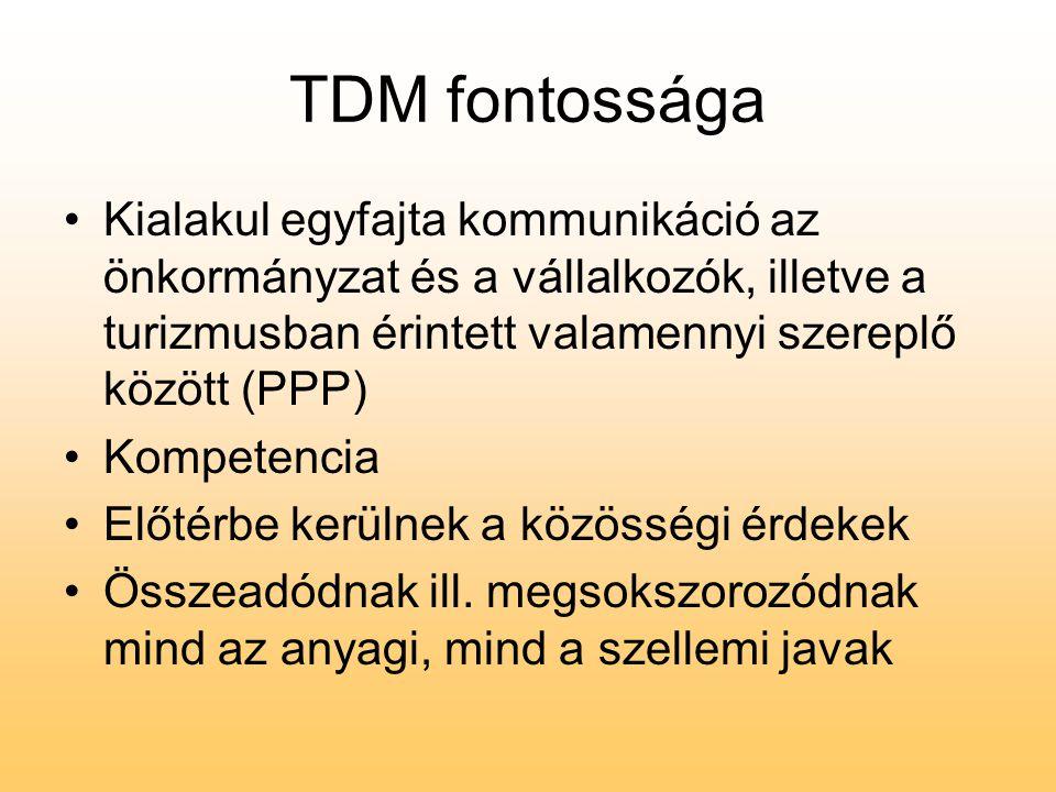 TDM fontossága •Kialakul egyfajta kommunikáció az önkormányzat és a vállalkozók, illetve a turizmusban érintett valamennyi szereplő között (PPP) •Komp
