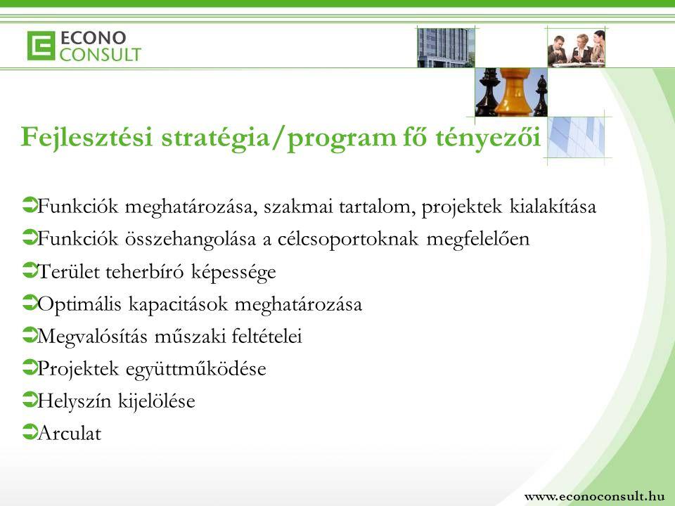 Fejlesztési stratégia/program fő tényezői  Funkciók meghatározása, szakmai tartalom, projektek kialakítása  Funkciók összehangolása a célcsoportokna
