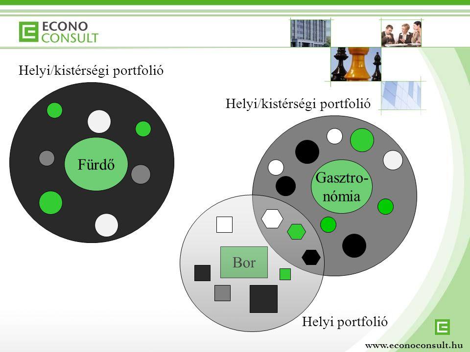 Fürdő Gasztro- nómia Helyi portfolió Helyi/kistérségi portfolió Bor Helyi/kistérségi portfolió www.econoconsult.hu