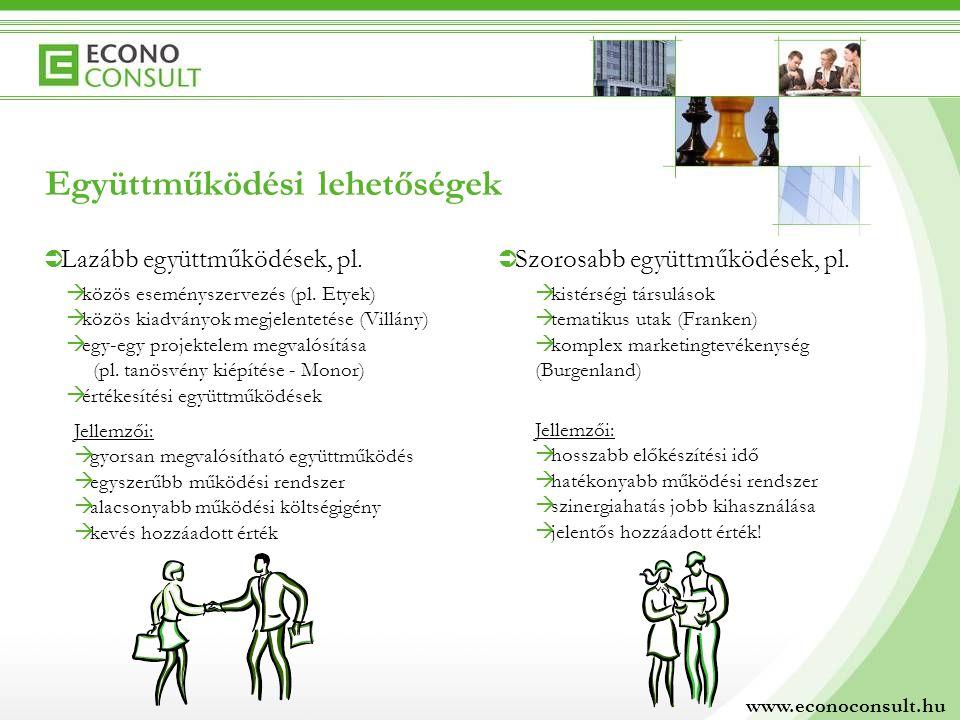 Együttműködési lehetőségek  Lazább együttműködések, pl.  Szorosabb együttműködések, pl.  közös eseményszervezés (pl. Etyek)  közös kiadványok megj