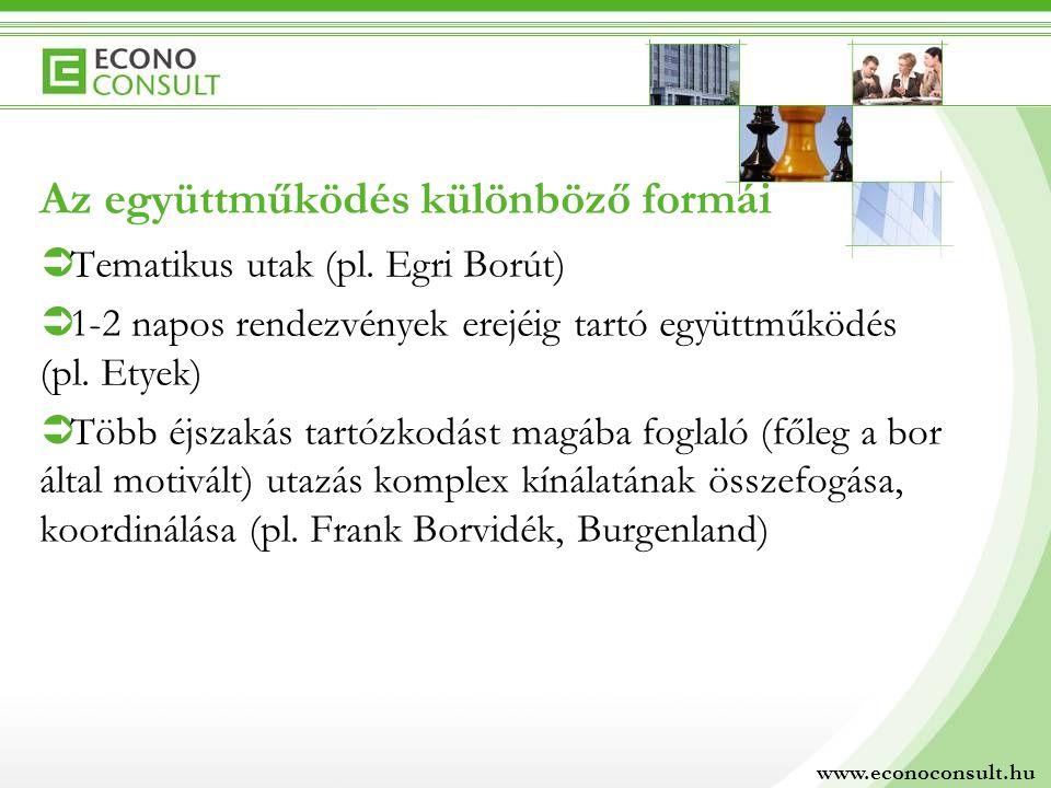 Az együttműködés különböző formái  Tematikus utak (pl. Egri Borút)  1-2 napos rendezvények erejéig tartó együttműködés (pl. Etyek)  Több éjszakás t