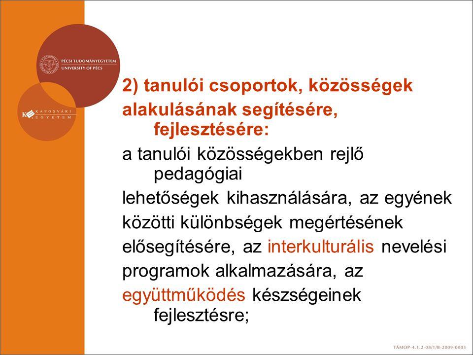 2) tanulói csoportok, közösségek alakulásának segítésére, fejlesztésére: a tanulói közösségekben rejlő pedagógiai lehetőségek kihasználására, az egyén