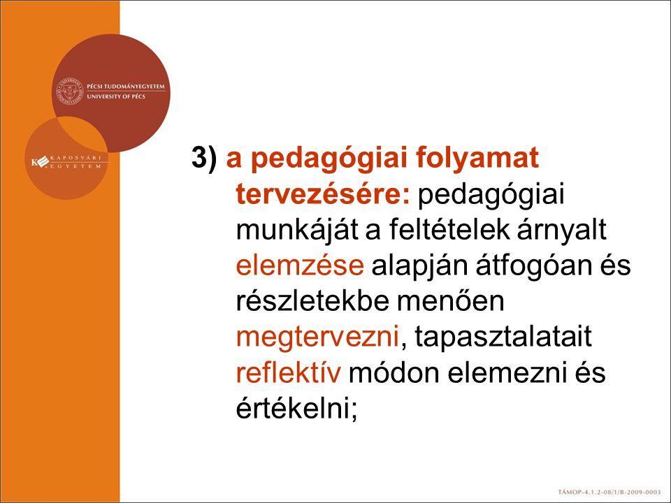 3) a pedagógiai folyamat tervezésére: pedagógiai munkáját a feltételek árnyalt elemzése alapján átfogóan és részletekbe menően megtervezni, tapasztala