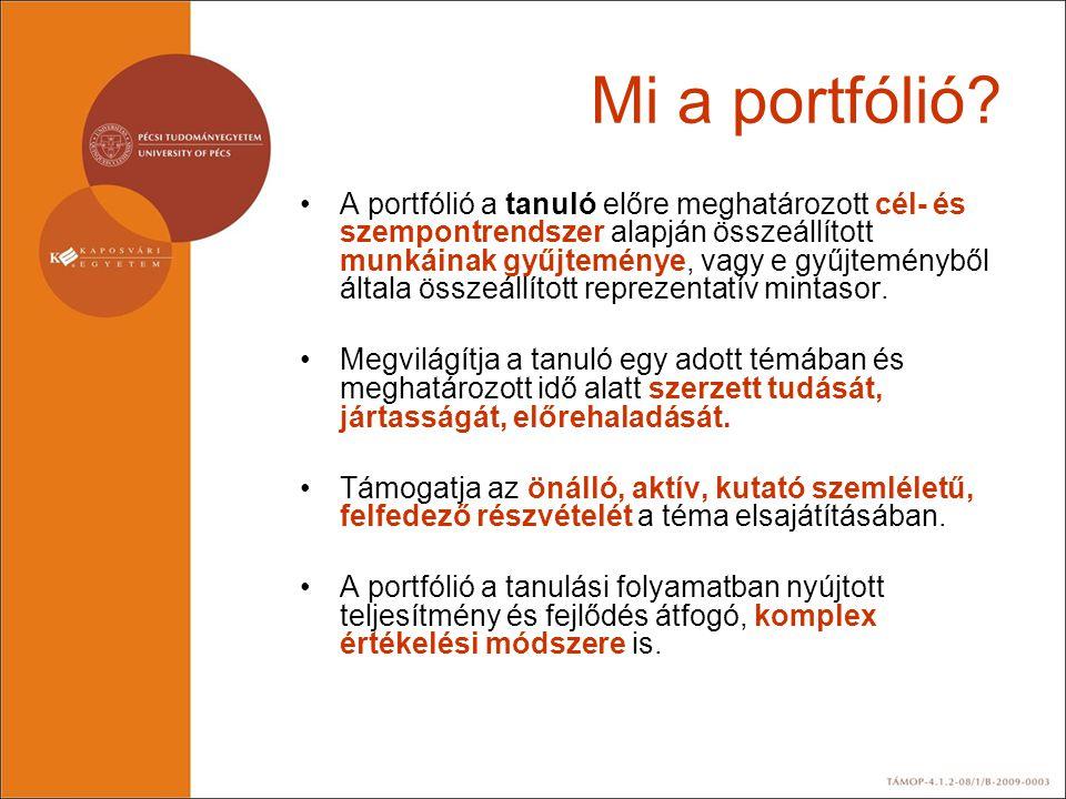Mi a portfólió? •A portfólió a tanuló előre meghatározott cél- és szempontrendszer alapján összeállított munkáinak gyűjteménye, vagy e gyűjteményből á