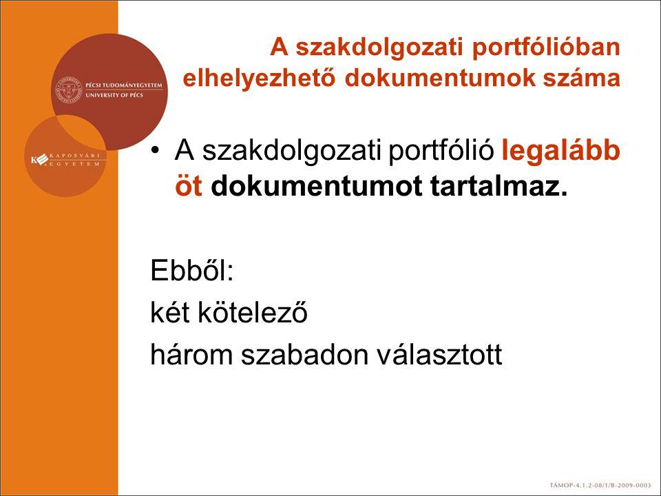 A szakdolgozati portfólióban elhelyezhető dokumentumok száma •A szakdolgozati portfólió legalább öt dokumentumot tartalmaz. Ebből: két kötelező három